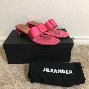 Jil Sander Pink Bow Slides - Size 38